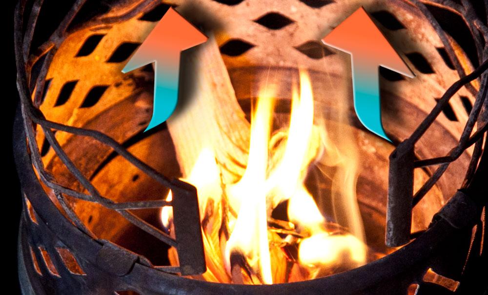 Puhaltimen tuottama lisäilma ohjataan Juuvissa hiilitilaan, mikä nostaa hiilloksen lämpötilaa.